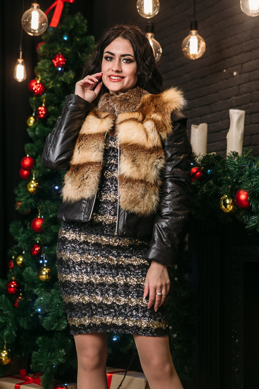 Женская куртка с лисы Vshubke короткая 42 черная (740)