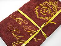 Полотенце банное 70x140 с вышивкой Лев и корона. Полотенце именное. Корона.
