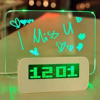 Светящиеся LED часы-будильник VJTech с доской для записей «Highstar»