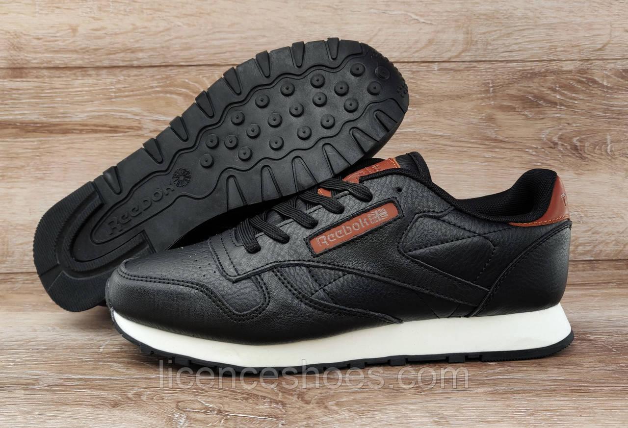 Мужские черные кроссовки Reebok Classic Leather