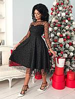 Женское приталенное платье ниже колен верх из сетки с бархатным горохом42-44, 44-46