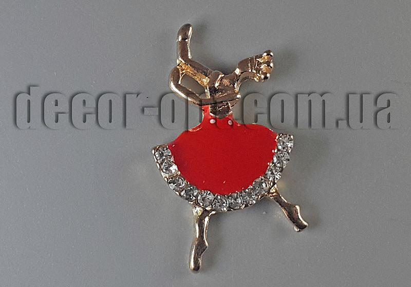 Фурнітура червона Балерина з камінчиками 3,0х1,8м арт3