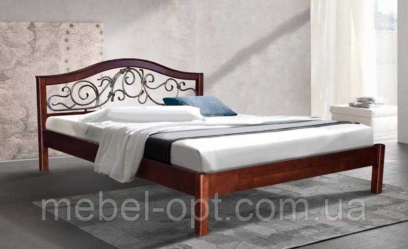 Кровать полуторная деревянная с металлическим изголовьем Илона 140х200, цвет темный орех
