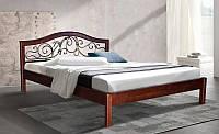 Кровать полуторная деревянная с металлическим изголовьем Илона 140х200, цвет темный орех, фото 1