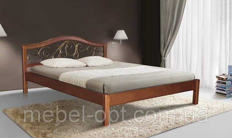 Кровать полуторная деревянная с металлическим изголовьем Илона 140х200, цвет светлый орех