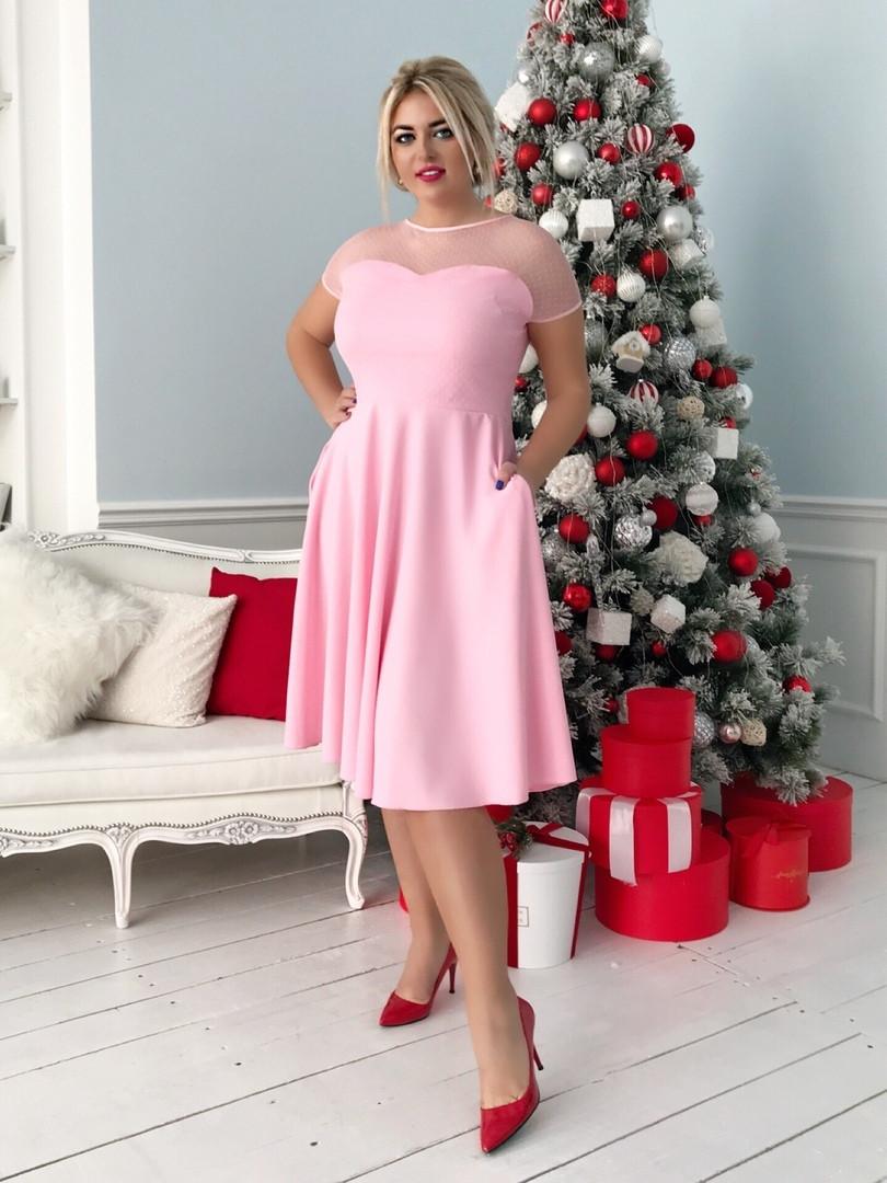 Женское приталенное платье ниже колен с красивым декольте из сетки и спинка с вырезом капелькой48-50, 52-54