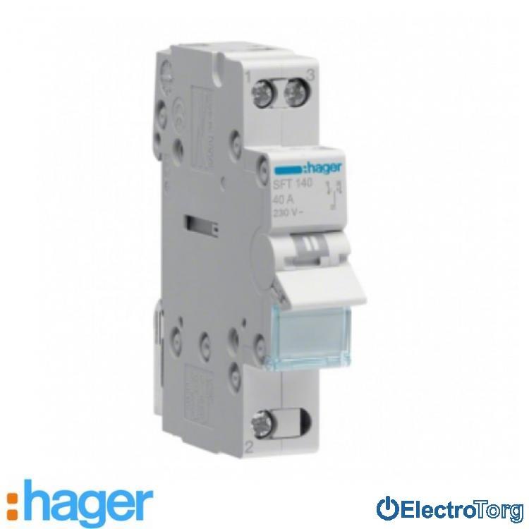 Переключатель I-0-II с общим выводом сверху 1 полюс 40А 230W SFT140 Hager