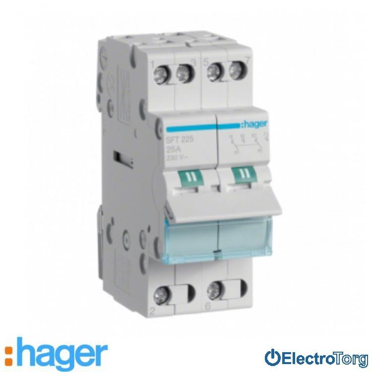 Переключатель I-0-II с общим выводом сверху 2 полюса 25А 230W SFT225 Hager