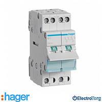 Переключатель I-0-II с общим выводом сверху 2 полюса 32А 230W SFT232 Hager