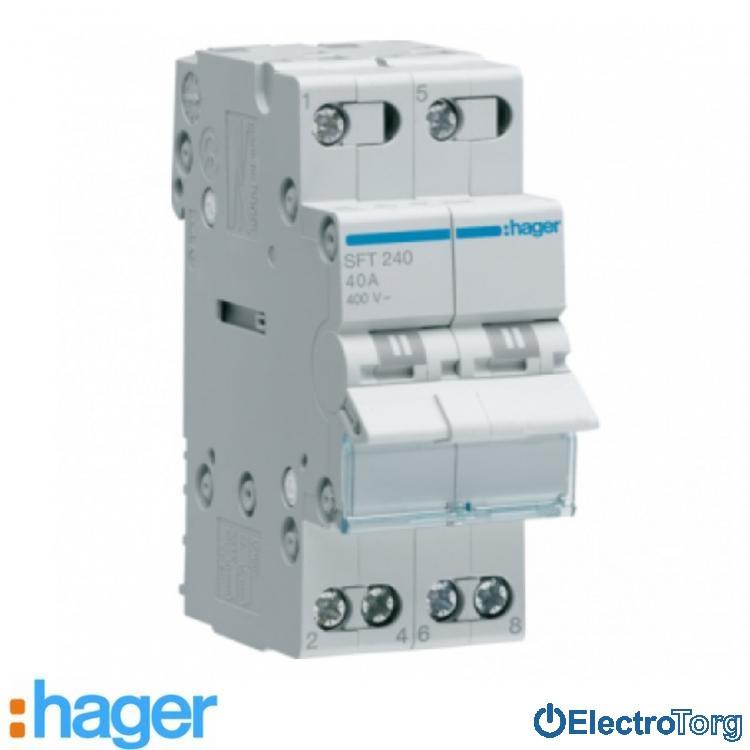 Переключатель I-0-II с общим выводом сверху 2 полюса 40А 230W SFT240 Hager