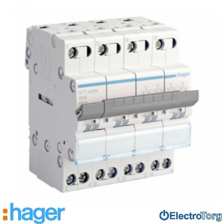 Переключатель I-0-II с общим выводом сверху 4 полюса 40А 400W SFT440 Hager