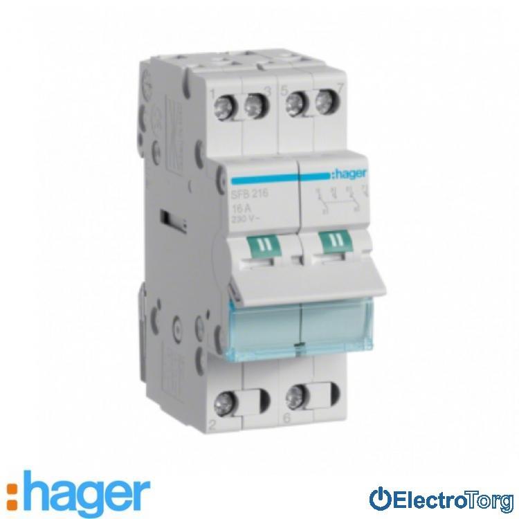 Переключатель I-0-II с общим выводом снизу 2 полюса 16А 230W SFB216 Hager