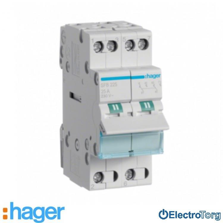 Переключатель I-0-II с общим выводом снизу 2 полюса 25А 230W SFB225 Hager