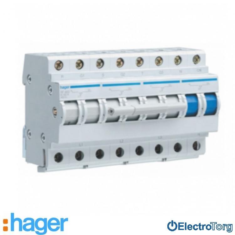 Переключатель ввода резерва 4 полюса 63A 400W 3+N SF463 Hager