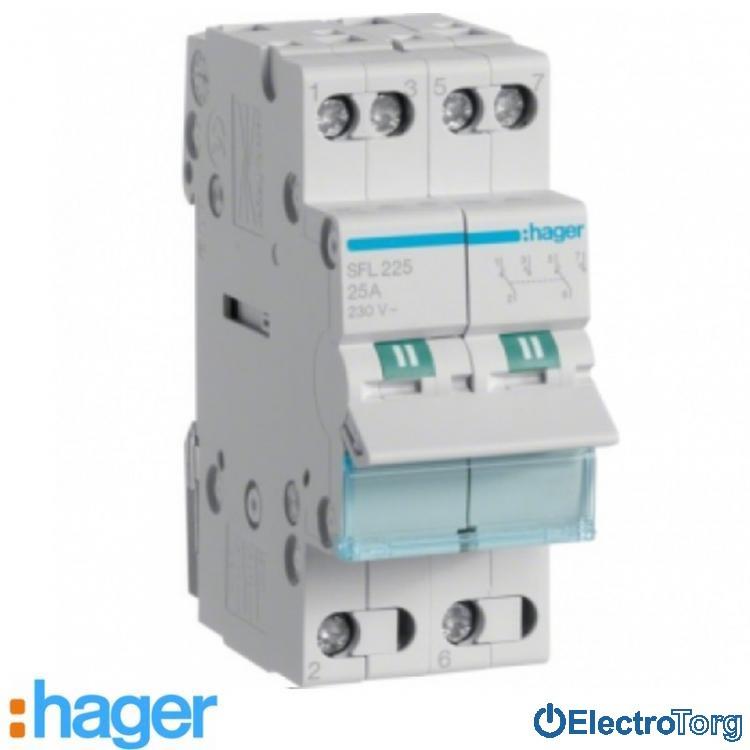 Переключатель I-II 2 полюса 25А 230W с общим выводом снизу SFL225 Hager