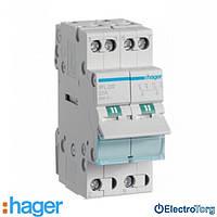Переключатель I-II 2 полюса 32А 230W с общим выводом снизу SFL232 Hager