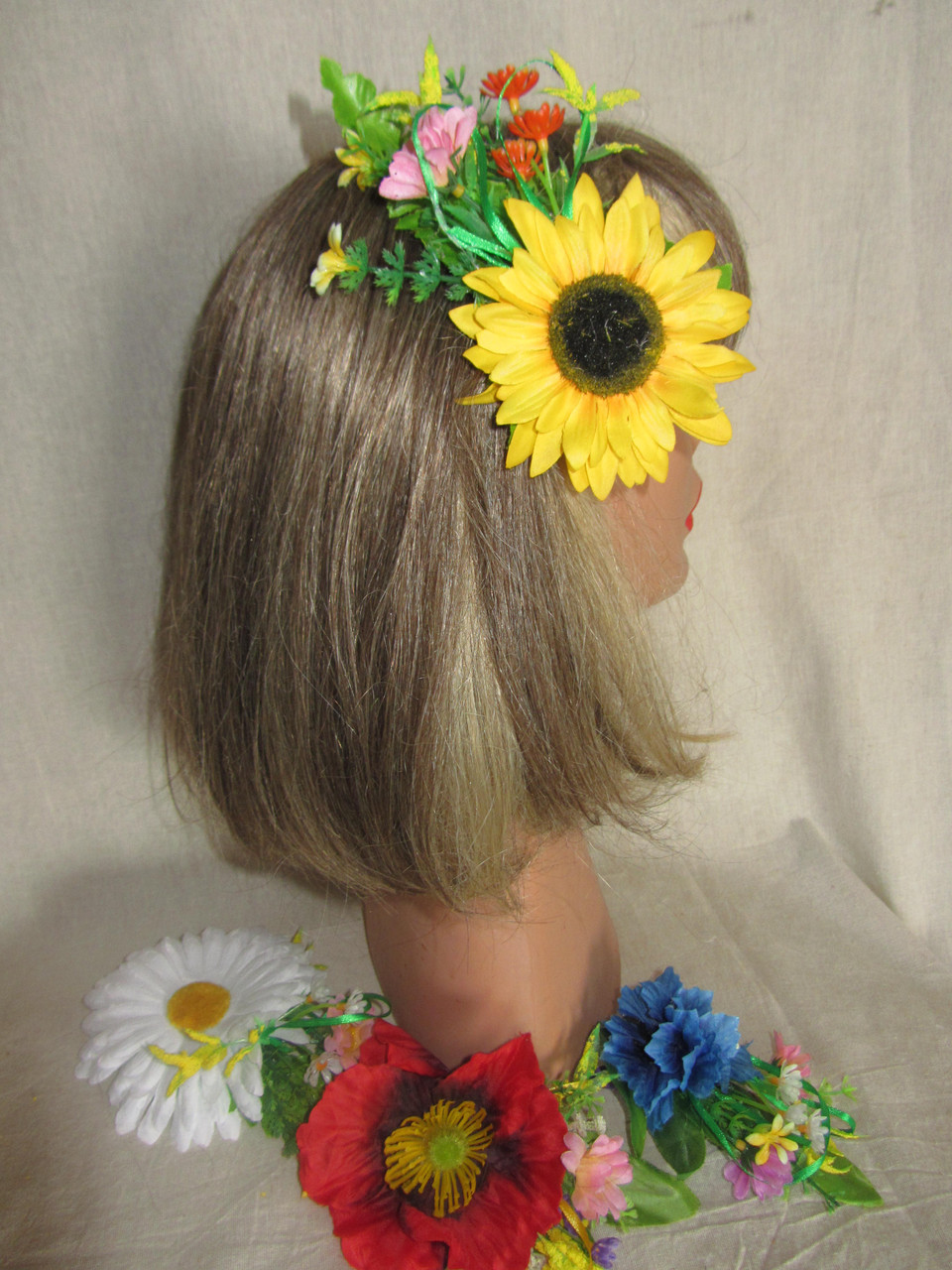 Заколка на голову, заколка з соняхом,заколка для волосся (45/55) (цена за 1шт. +10 грн)