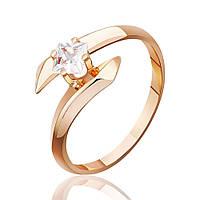 """Золотое кольцо с цирконом """"Встреча"""", красное золото, КД0100 Eurogold"""