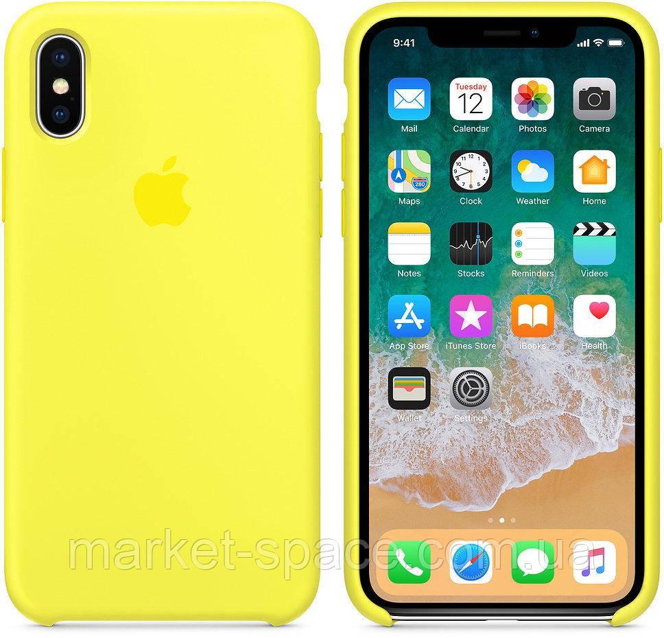 """Чехол силиконовый для iPhone X. Apple Silicone Case, цвет """"Жёлтый неон"""""""