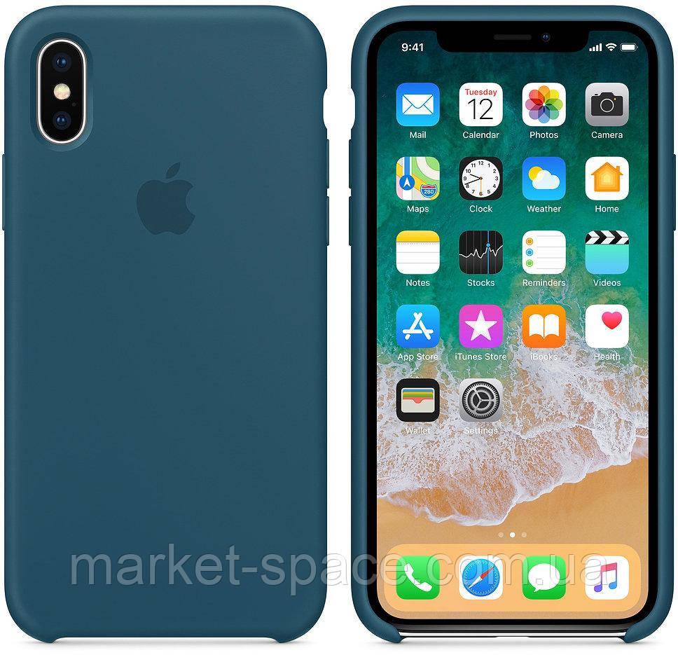 """Чехол силиконовый для iPhone X. Apple Silicone Case, цвет """"Космический синий"""""""