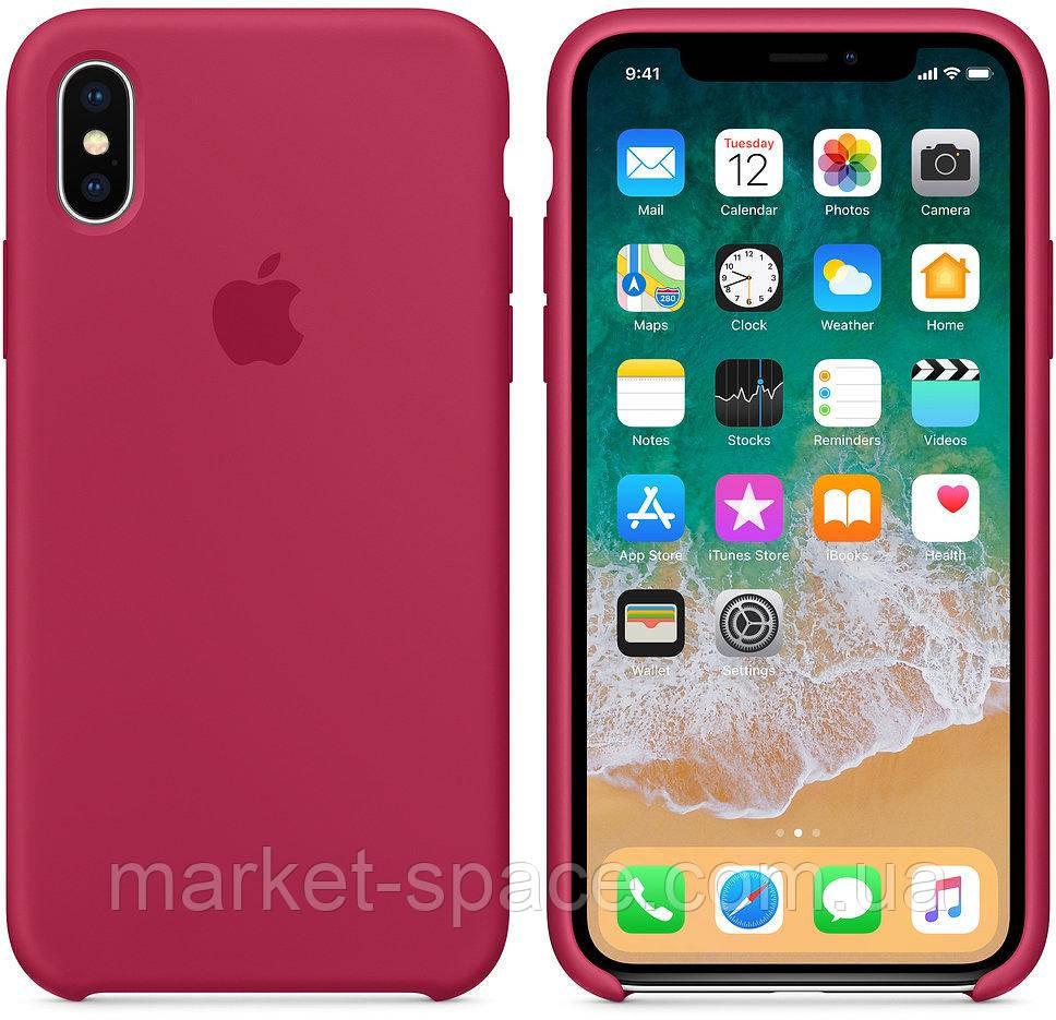 """Чехол силиконовый для iPhone X. Apple Silicone Case, цвет """"Красная роза"""""""