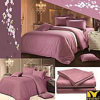 "Простынь 240х220 Коллекции ""Elite Satin Stripe 1х1 cm Purple"". Страйп-Сатин (Турция). Хлопок 100%."