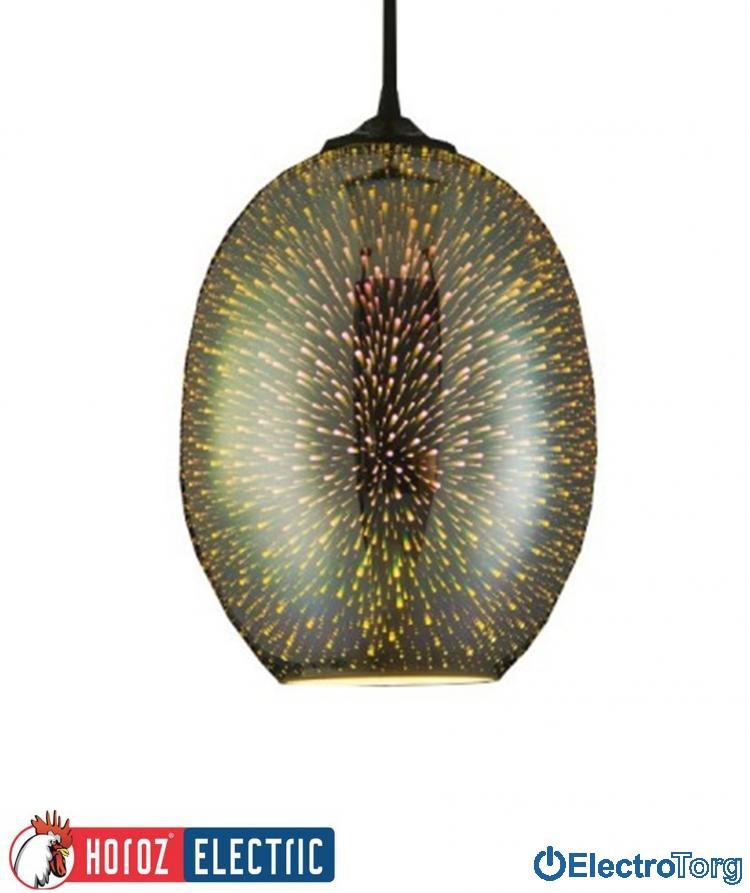 """Светильник подвесной """"QUANTUM"""" E27 плафон стекло 3D эффект овальный хром, медь Horoz Electric (Хороз Электрик)"""