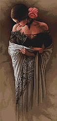 """Набор для вышивания крестиком """"Испанка с цветком"""". Художник Ли Богл"""