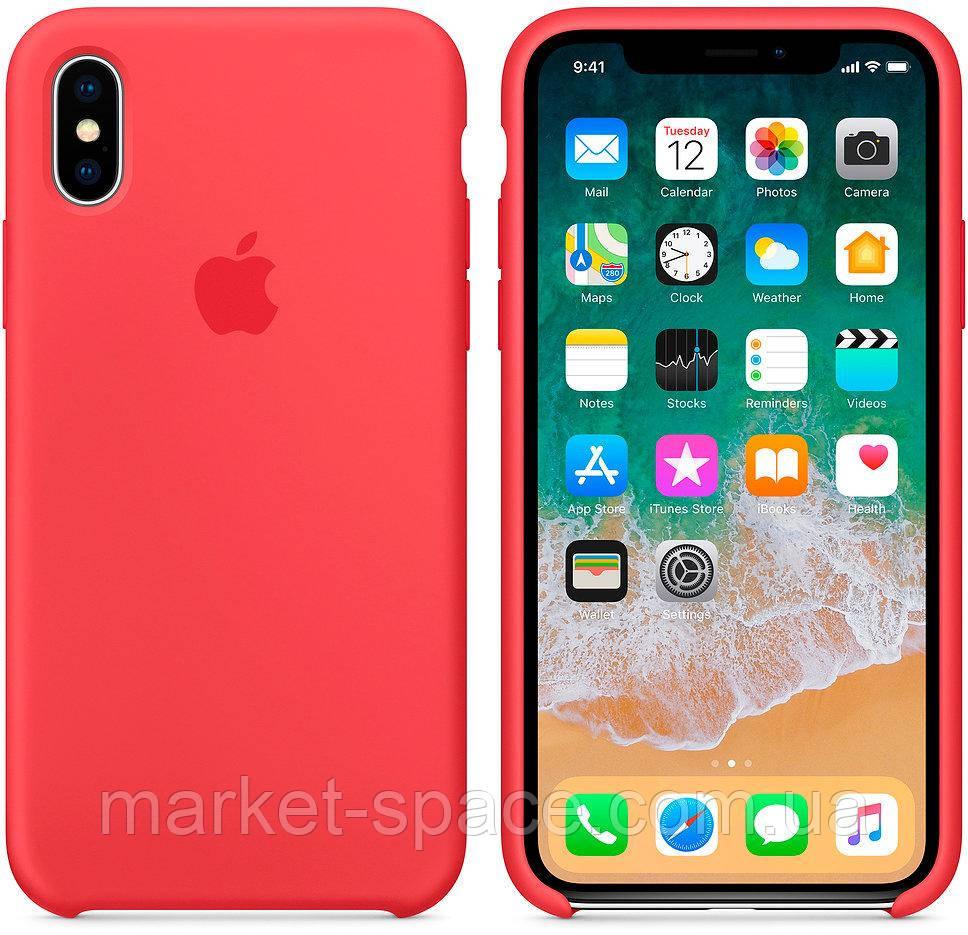 """Чехол силиконовый для iPhone X. Apple Silicone Case, цвет """"Спелая малина"""""""