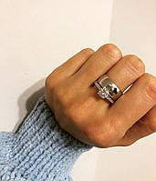 Кільце з срібла 925 покрита родієм з куб. цирконами подвійне гладке (17,5-19 розмір), фото 1