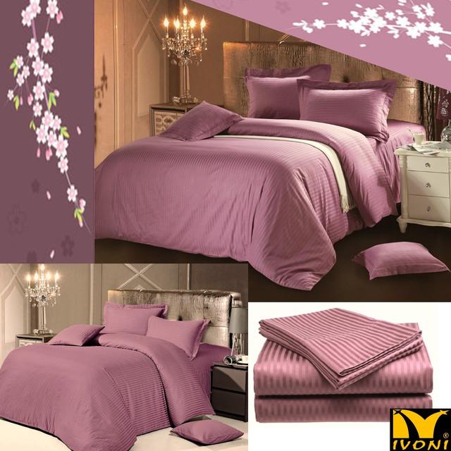 """Стандартные комплекты. Коллекция """"Elite Satin Stripe 1х1 cm Purple"""". Страйп-Сатин (Турция). Хлопок"""