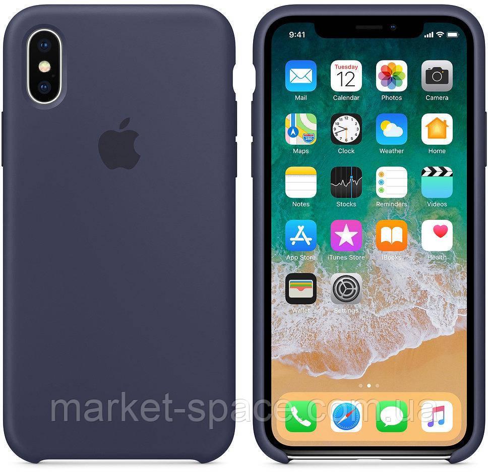 """Чехол силиконовый для iPhone X. Apple Silicone Case, цвет """"Тёмно-синий"""""""