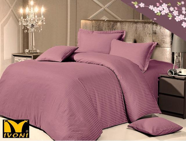 "Простыни. Коллекция ""Elite Satin Stripe 1х1 cm Purple"". Страйп-Сатин (Турция). Хлопок 100%"