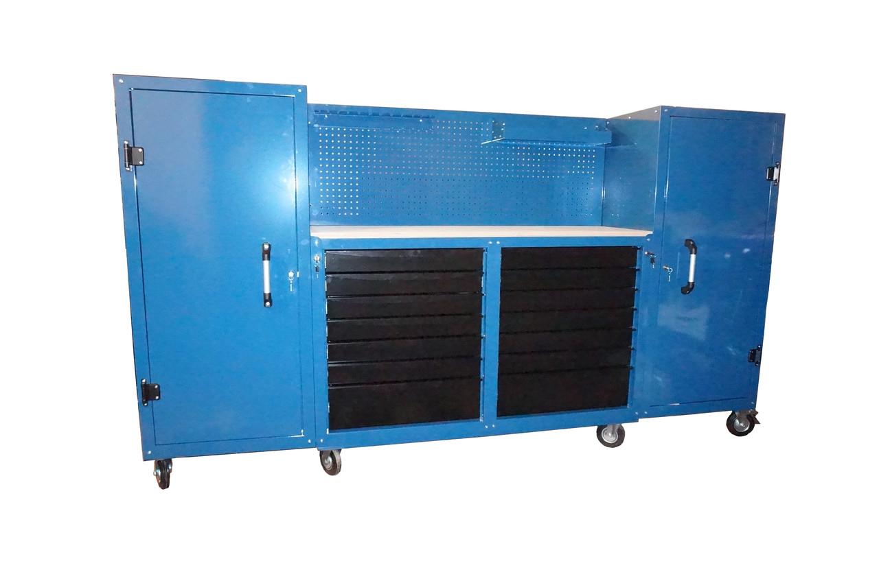 Тележка инструментальная 14 полок с боковыми шкафчиками и перфорированной панелью