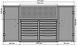 Тележка инструментальная 14 полок с боковыми шкафчиками и перфорированной панелью, фото 3
