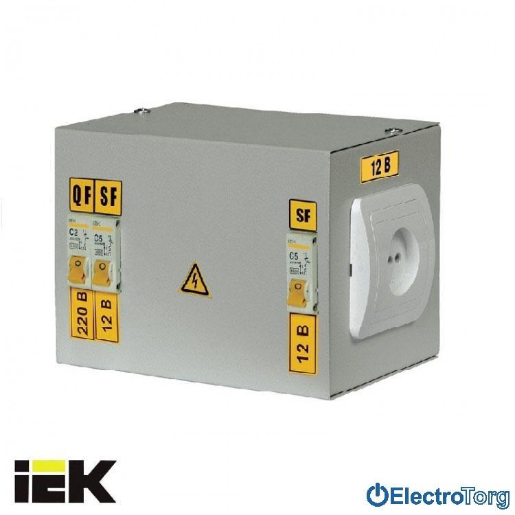 Ящик с понижающим трансформатором ЯТП-0,25 (3 автомата) 220В 12В УХЛ4 IP30 ИЭК(IEK)
