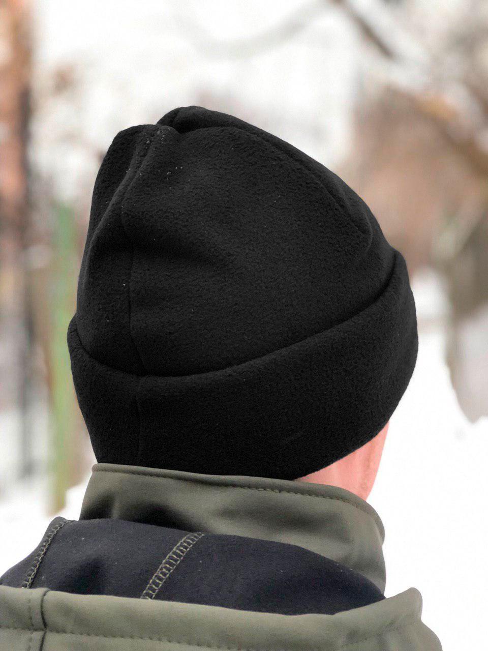 Флисовая шапка Polar Watch Cap двухслойная Fleece Elite (черная)