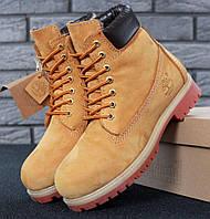Женские (мужские) зимние ботинки Timberland 6 inch Yellow с натуральным мехом