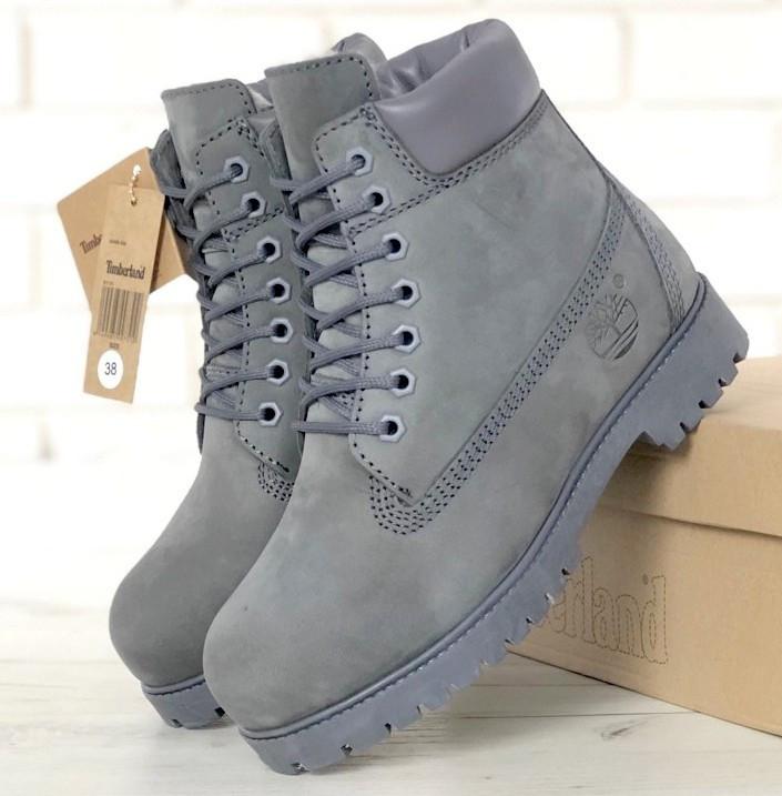 Женские (мужские) зимние ботинки Timberland 6 inch Grey С МЕХОМ