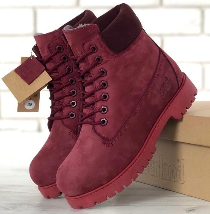 Женские зимние ботинки Timberland 6 inch Bordo с натуральным мехом