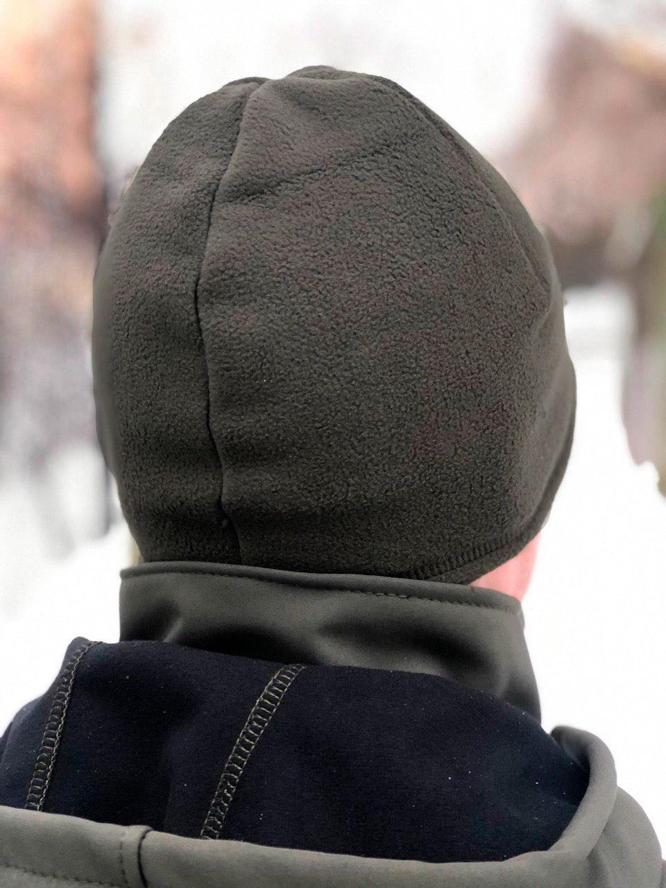 Зимняя флисовая шапка Велсофт (олива)