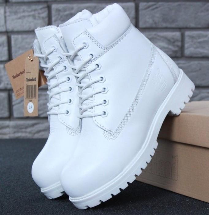 Женские зимние ботинки Timberland 6 inch White С МЕХОМ