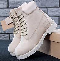 Женские зимние ботинки Timberland 6 inch Beige С МЕХОМ