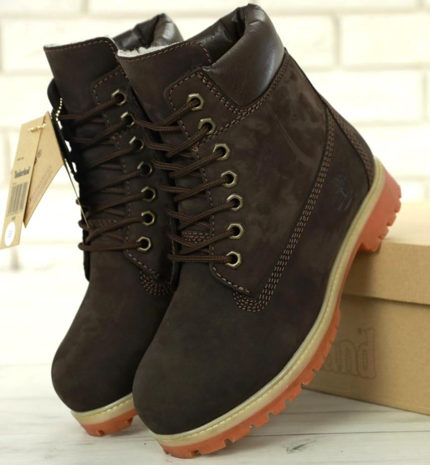 Женские зимние ботинки Timberland 6 inch Brown С МЕХОМ