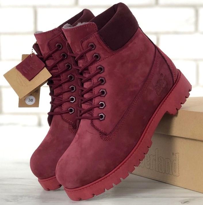 Женские зимние ботинки Timberland 6 inch Bordo С МЕХОМ