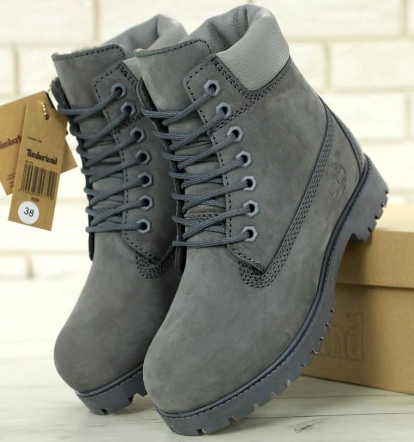 Женские (мужские) зимние ботинки в стиле Timberland 6 inch Grey с натуральным мехом