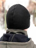 Зимняя флисовая шапка Велсофт (черная)