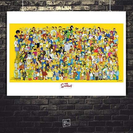 Постер Все Симпсоны на одном плакате. The Simpsons, Гомер, Барт. Размер 60x42см (A2). Глянцевая бумага, фото 2