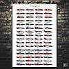 Постер Формула 1, мировые чемпионы 1950-2013 годов. Formula 1, F1, Ф1, гонки, машины, авто (60x85см)