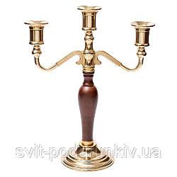 Канделябр на 3 свечи со вставкой из дерева Alberti Livio